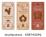 wine bottle labels with brown... | Shutterstock .eps vector #458743396