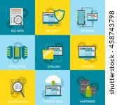 square datacenter line icon set ... | Shutterstock .eps vector #458743798