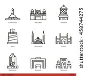 asian capitals  part 3    line... | Shutterstock .eps vector #458744275