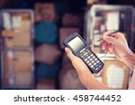 worker checking and scanning... | Shutterstock . vector #458744452