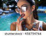 closeup portrait of fashion... | Shutterstock . vector #458754766