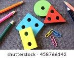 back to school. colored pencils ... | Shutterstock . vector #458766142