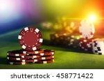 poker chips of casino on gaming ...   Shutterstock . vector #458771422