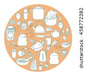 hand drawn doodles objects food ... | Shutterstock .eps vector #458772382