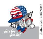 cute kitten in a cap and... | Shutterstock .eps vector #458772832