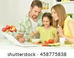 happy family cooking  in kitchen | Shutterstock . vector #458775838