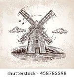 windmill in rural landscape ... | Shutterstock .eps vector #458783398