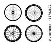 Silhouettes Of A Bicycle Wheel...