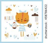 greeting card  hello. creative... | Shutterstock .eps vector #458786422