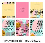 collection of happy birthday ... | Shutterstock .eps vector #458788138