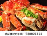 red king crab served on big... | Shutterstock . vector #458808538