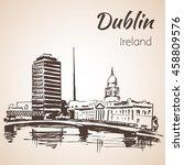 dublin liffey liberty hall.... | Shutterstock .eps vector #458809576