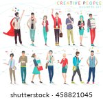 set of business people with...   Shutterstock .eps vector #458821045