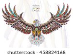 patterned flying eagle on the... | Shutterstock .eps vector #458824168