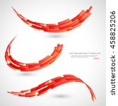 abstract 3d icon set with red... | Shutterstock .eps vector #458825206