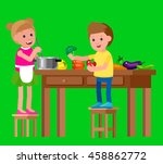 cute vector character child and ... | Shutterstock .eps vector #458862772