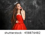 fashion gorgeous woman in red... | Shutterstock . vector #458876482