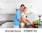 cheerful young couple in home... | Shutterstock . vector #45888742