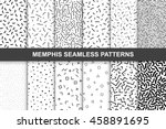 Stock vector collection of swatches memphis patterns seamless fashion s black and white mosaic textures 458891695
