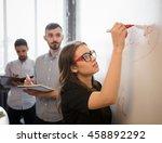 serious businesswoman in... | Shutterstock . vector #458892292