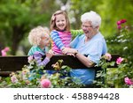 Stock photo happy senior lady playing with little boy and girl in blooming rose garden grandmother with grand 458894428