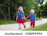 kids playing in autumn park.... | Shutterstock . vector #458899996