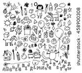 funny children drawing vector...   Shutterstock .eps vector #458900308