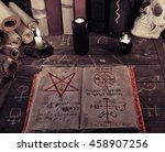 Old Book Of Magic Spells With...
