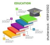 books steps of education...   Shutterstock .eps vector #458910502