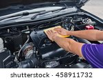 worker man open the car hood... | Shutterstock . vector #458911732