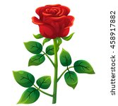 red rose cartoon style  vector... | Shutterstock .eps vector #458917882