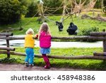 two little kids  boy and girl ... | Shutterstock . vector #458948386