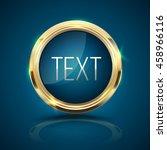 gold frame circle on blue... | Shutterstock .eps vector #458966116