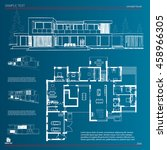 wireframe blueprint drawing of...   Shutterstock .eps vector #458966305