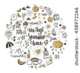 big set summer doodle icon and... | Shutterstock .eps vector #458972266