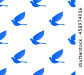 fly dove seamless pattern. blue ... | Shutterstock . vector #458974936