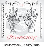 vintage chiromancy chart with... | Shutterstock .eps vector #458978086