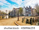 traditional dutch old houses... | Shutterstock . vector #458986255