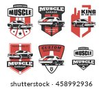 set of classic muscle car logo  ... | Shutterstock .eps vector #458992936
