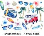hand drawn watercolor ocean... | Shutterstock . vector #459015586