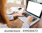 side view of the laptop is on... | Shutterstock . vector #459030472