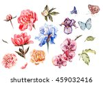 watercolor set with flowers of... | Shutterstock . vector #459032416