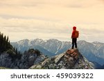 successful woman backpacker... | Shutterstock . vector #459039322