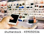 girl use mobile phone  blur... | Shutterstock . vector #459050536