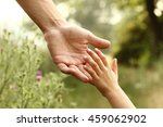 the parent holds the hand of a... | Shutterstock . vector #459062902