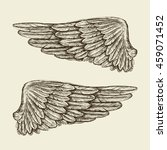hand drawn vintage wings.... | Shutterstock .eps vector #459071452