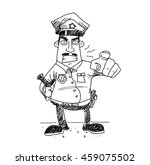 grumpy cop police. a hand drawn ... | Shutterstock .eps vector #459075502