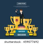 businessman walking up stairs ... | Shutterstock .eps vector #459077692