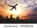 airplane flying over the city... | Shutterstock . vector #459088336