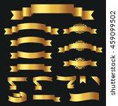set of golden ribbons for your... | Shutterstock .eps vector #459099502